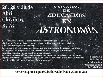 Se desarrollarán, en el Parque Cielos del Sur las Jornadas de Educación en Astronomía