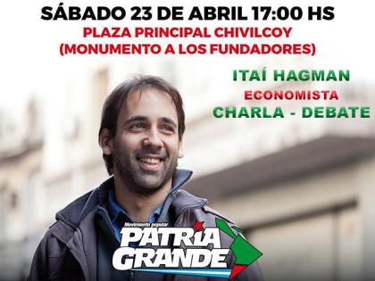 El economista Itaí Hagman dará una charla en nuestra ciudad