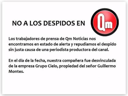 Repudiamos el despido de la colega periodista de QM Noticias