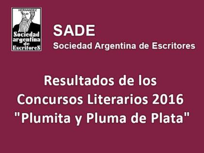 """SADE: Resultados de los Concursos Literarios 2016 """"Plumita y Pluma de Plata"""""""