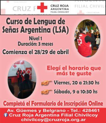 Cruz Roja Filial Chivilcoy: Abierta la inscripción para los cursos de lengua de señas y Primeros Auxilios