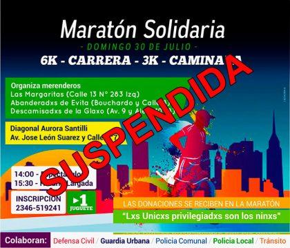 Por razones climáticas se suspendió la Maratón Solidaria programada para hoy