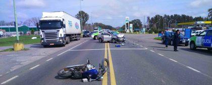 Un motociclista resultó con heridas de gravedad en violento accidente sobre la Ruta Nº 5