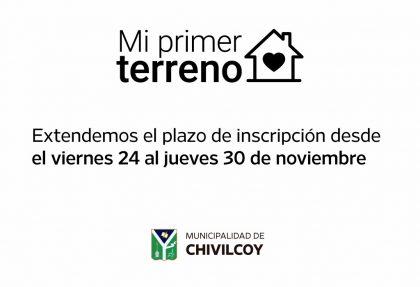 """""""MI PRIMER TERRENO"""" Se extendió el plazo de inscripción hasta el 30 de noviembre"""