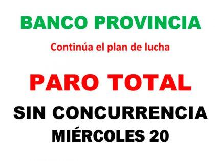 Banco Provincia: Este miércoles habrá paro total de actividades