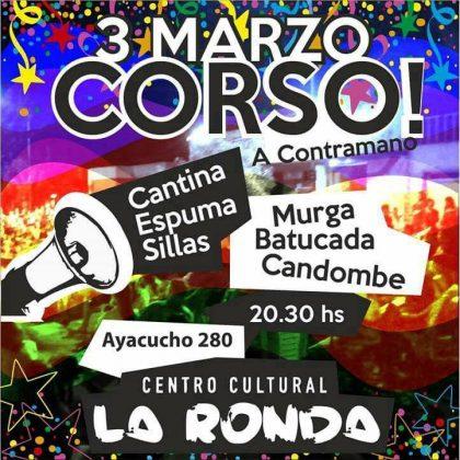 """El sábado 3 de marzo La Ronda presenta """"Corso a Contramano"""""""