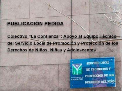 """Publicación pedida: Colectivo """"La Confianza"""": Apoyo al Equipo Técnico del Servicio Local"""