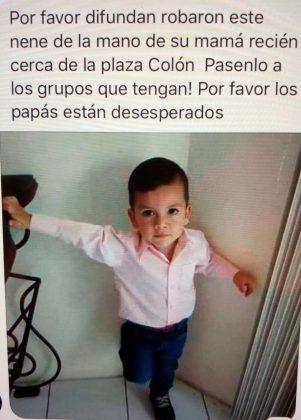 Es falsa la publicación que circula en las redes sobre el robo de un menor en la zona de la Plaza Colón