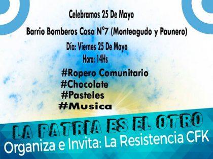 """La agrupación política """"La Resistencia CFK"""" invita a los vecinos a celebrar el 25 de Mayo"""
