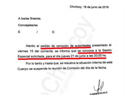 El jueves se tratará en el Concejo Deliberante el pedido de remoción de autoridades