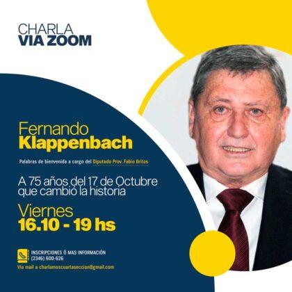 """<span style='color:#f000000;font-size:14px;'>VÍA ZOOM</span><br>Con la presentación de Fabio Britos, invitan a participar de una charla online con Fernando Klappenbach sobre el """"17 de octubre"""""""