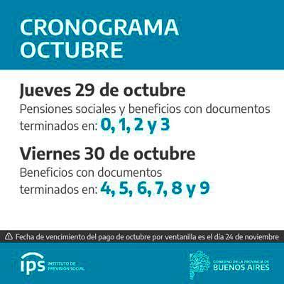 <span style='color:#f000000;font-size:14px;'>JUBILACIONES Y PENSIONES</span><br>Los jubilados y pensionados del IPS cobran haberes de octubre