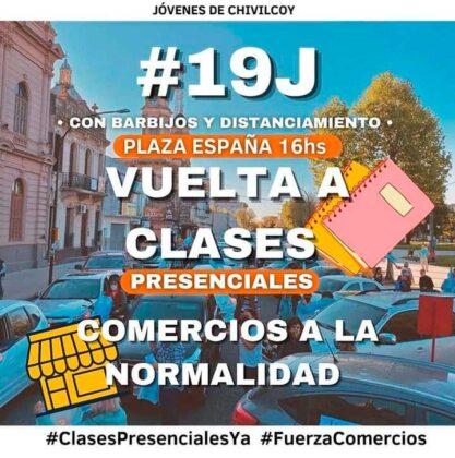 <span style='color:#f000000;font-size:14px;'>CONVOCAN A UNA MARCHA</span><br>Caravana J19 desde la Plaza España para pedir por la vuelta a las clases presenciales