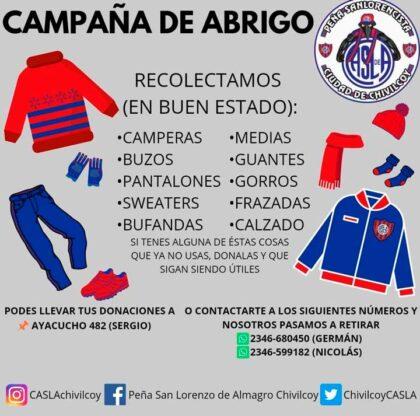 <span style='color:#f000000;font-size:14px;'>SOLIDARIDAD</span><br>Campaña de abrigo organizada por la Peña Sanlorencista de Chivilcoy