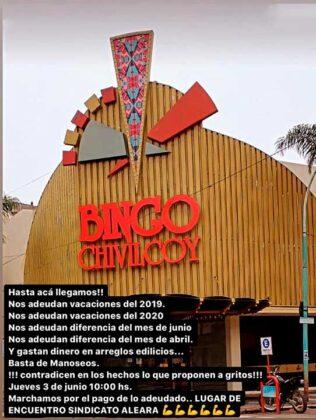 <span style='color:#f000000;font-size:14px;'>RECLAMO SINDICAL</span><br>Los trabajadores del Bingo Chivilcoy convocaron a una marcha para el jueves en reclamo de la deuda que la empresa tiene con ellos