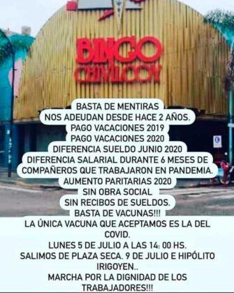 Nueva marcha convocada por los empleados del Bingo Chivilcoy