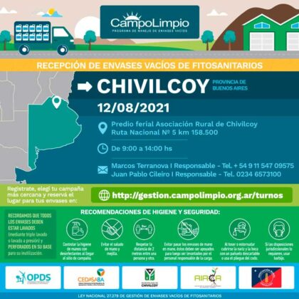 Campaña de recepción de envases vacíos de fitosanitarios en Chivilcoy